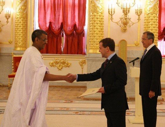 Dmitry Medvedev with Sidi Mohamed Ould Taleb Amar