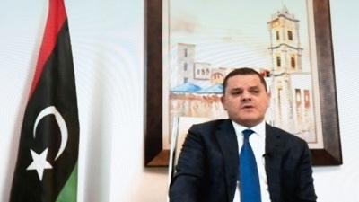 le libyen abdul hamid dbeibah participant par video le 3 fevrier 2021 a une reunion de diaogue 7458774