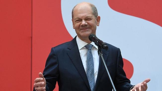 le chef de file du spd et ministre des finances actuel olaf scholz a berlin le 27 septembre 2021 au lendemain des legislatives qui a vu son parti remporter le scrutin d une courte tete